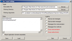 The PartCover Run Target Dialog