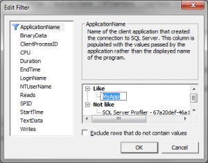 Editing the Application Name Filter